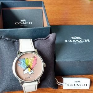 NEW Coach Peanuts Snoopy Leather Strap Watch 40mm